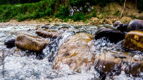 Aluminium Prints Forest river small waterfall