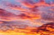 colorful sky at sunset with altocumulus, altostratus and cirrus clouds