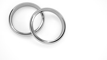 3d Render Of Silver Wedding Rings From Top