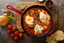 Shakshuka With Chickpeas In A Skillet