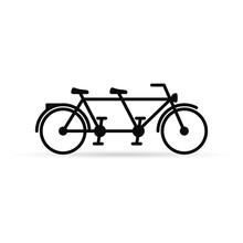 Tandem Bike Vector Icon Isolat...