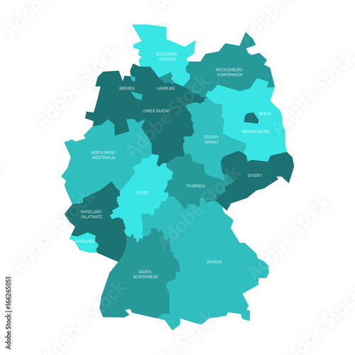 Map of Germany devided to 13 federal states and 3 city ...