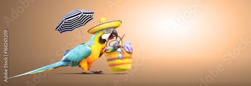 Foto op Aluminium Papegaai Papagei als Paradiesvogel am Strand freigestellt - Urlaub Konzept