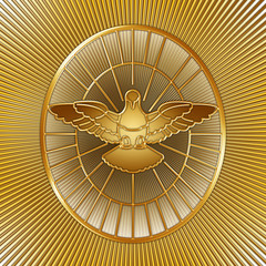 Fototapeta Witraże sakralne Holy Spirit symbol, Saint Peter, Rome, graphic elaboration, illustration
