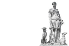 Ancient Sculpture Diana (Artemida, Artemis). Goddess Of Of The Moon, Wildlife, Nature And Hunting.