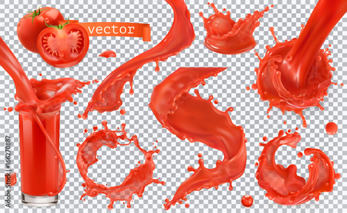 La pose en embrasure Forme Red paint splash. Tomato, Strawberries. 3d realistic vector icon set