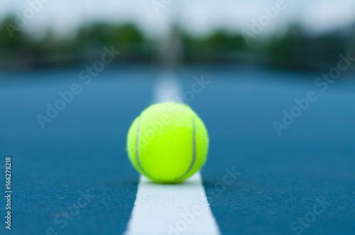 Fotografie, Obraz  Tennis ball on tennis court with white line
