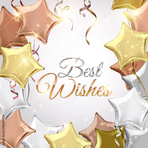 Best Wishes On Background With Silver Rose Gold Bronze And Star Shaped