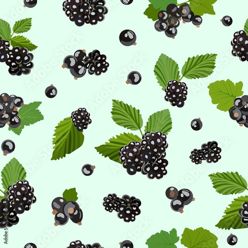 Seamless pattern with blackberry and black currant berries Wallpaper Mural
