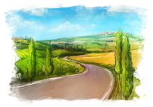 Tuscany: Rural Landscape With Fields And Hills.