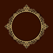 Oval Frame Of Gold And Silver, Luxurious Royal Style. Decorative Vintage Frames And Borders Set,photo Frame With Corner Line Floral, Frame Floral Template, Frame Flourishes Set Of Border And Corner