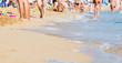 bright blurred sea beach shot with wave