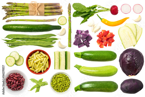 Recess Fitting Vegetables Vegetables Isolated on White Background Set 1