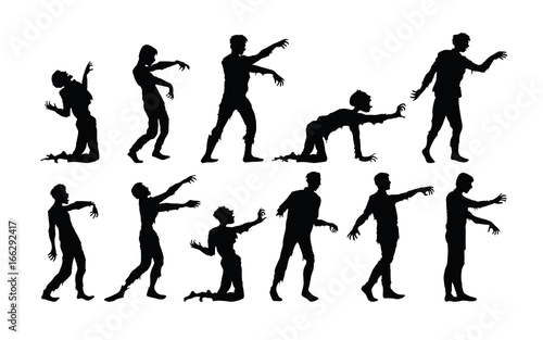 Vector silhouettes of zombies isolated on white background Wallpaper Mural