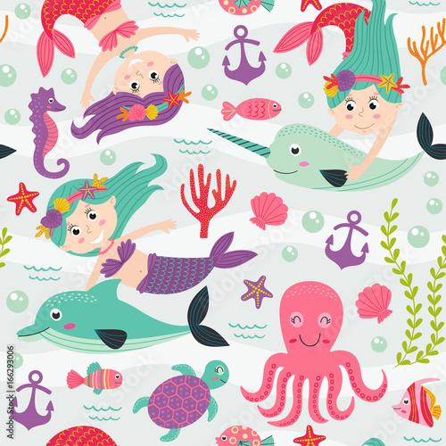 Materiał do szycia wzór z Syrenka i morskich zwierząt - ilustracja wektorowa eps