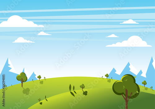 Foto op Canvas Pool Summer mountain landscape with sky background. Vector illustration.