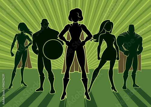 Superhero Team 3 / Team of superheroes. Poster Mural XXL