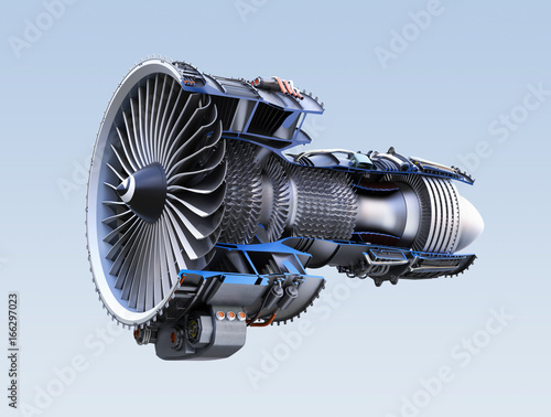 Cross section of turbofan jet engine isolated on light blue background. 3D rendering image. with clipping path Wall mural