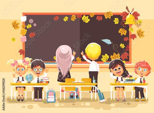 Fényképezés  Vector illustration back to school cartoon characters schoolboy schoolgirls writ