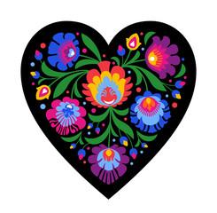 colourful folk heart on black background