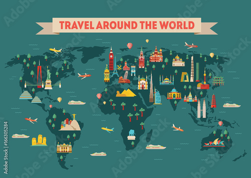 world travel map poster travel and tourism background vector illustration