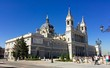 Almudena Cathedral in Madrid, Spain, perspective of the main entrance.