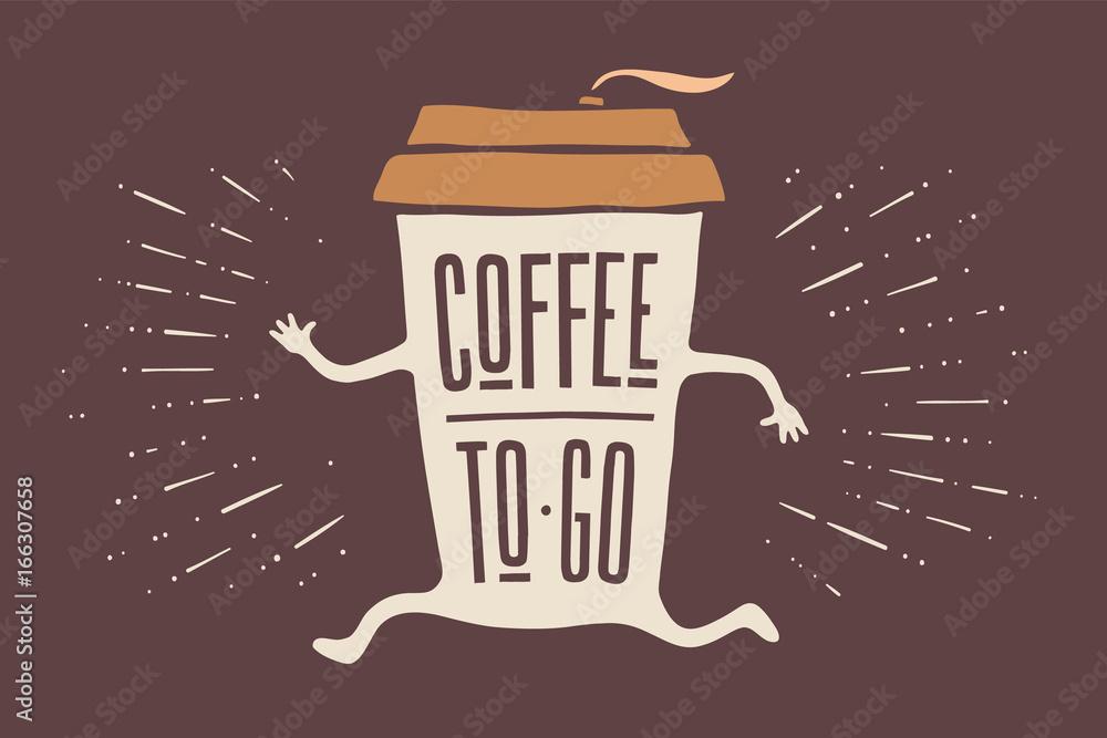 Fotografía El cartel saca la taza de café con letras dibujadas a ...