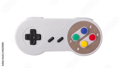 Gray retro joystick on a white background. Video game console GamePad on a white background. Isolated on white