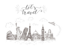 World Travel And Sights. Tourism Banner With Hand-lettering Quote.