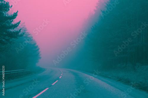 Платно Photo depicting road in a mystic woods