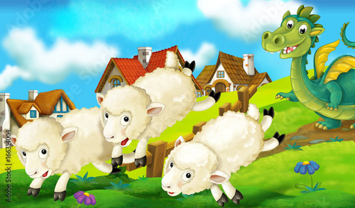 Papiers peints Chateau Cartoon background of a dragon near the village running and chasing sheep - illustration for children