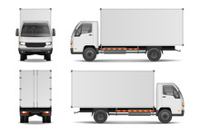 White Realistic Delivery Cargo Truck. Lorry For Advertising Side, Front And Rear View Isolated On White Background. Delivery Cargo Truck Vector Illustration Mockup.