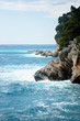 Rocky coast and the Adriatic Sea in the town of Petrovac, Montenegro