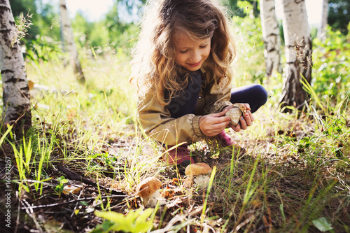 Fotografie, Obraz  happy child girl picking wild mushrooms on the walk in summer or autumn forest