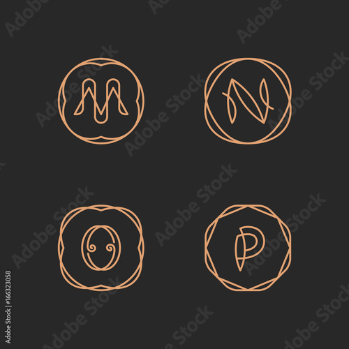 Letters M N O P Alphabet Logo Set Buy This Stock Vector And
