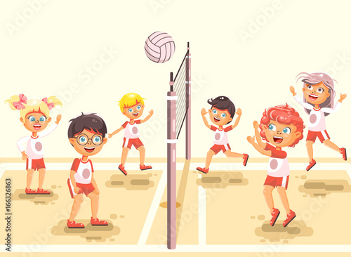 Vector illustration back to sport school children character schoolgirl schoolboy pupil classmates team game playing volleyball ball at physical education class sandy beach background flat style