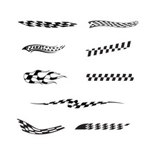 Vector Of Checkered Racing Flag Splatters Collection Set