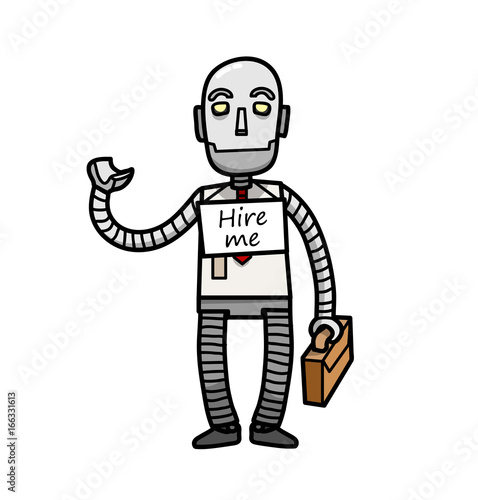 Robot Looking For A Job A Hand Drawn Vector Cartoon Illustration Of