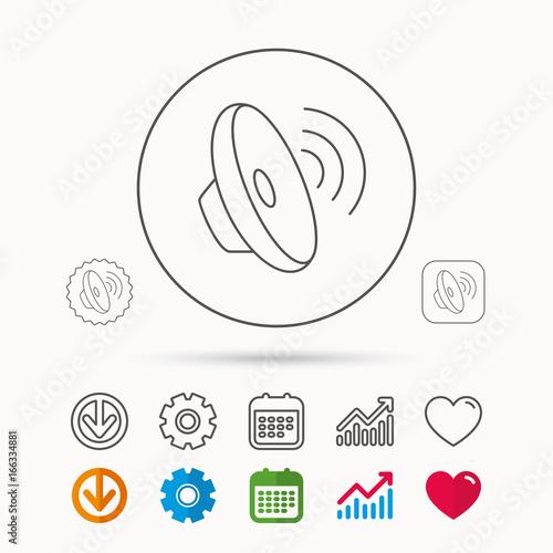 Sound waves icon  Audio speaker sign  Music symbol  Calendar