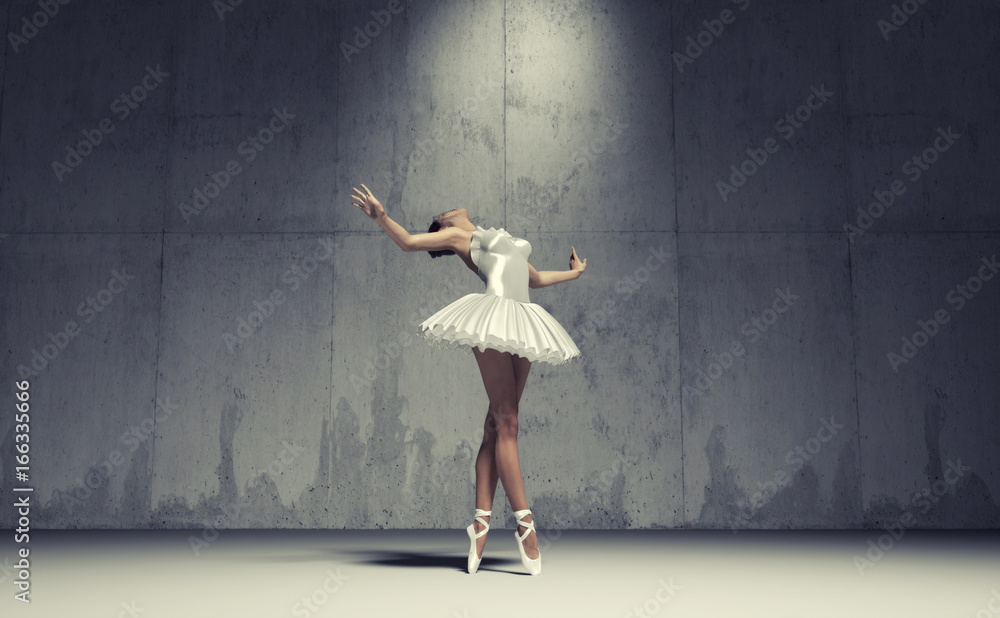 Fototapeta Young and beautiful ballerina
