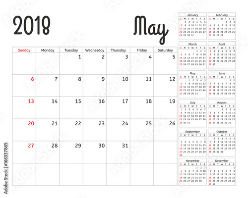 Simple Calendar Planner For 2018 Year Vector Design May Template