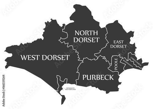 Fotografiet Dorset county England UK black map with white labels illustration