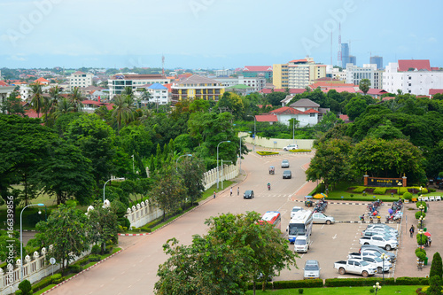 Photo Stands Kiev Vientiane City View from inside the Patuxai Monument in Laos