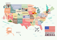 Map Of The United States Of Am...