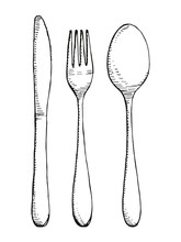 Fork Spoon And Knife Vector Se...
