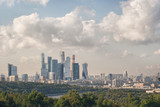 Panoramic view from the hills of Vorobyovy Gory to the city of Moscow