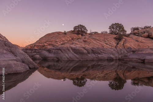 Spoed Foto op Canvas Lavendel Willow Lake Moonrise Reflection
