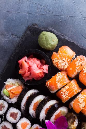 Japanese sushi big set with vasabi, top view Canvas Print