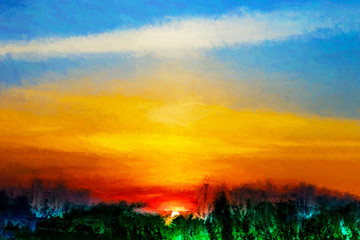 Obraz Vibrant sunset landscape illustration background