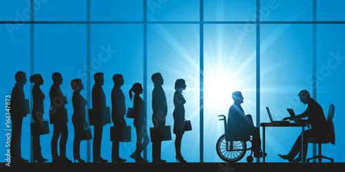 handicap - file d'attente - candidat - sélection - emploi - handicapé - discrimi Canvas Print